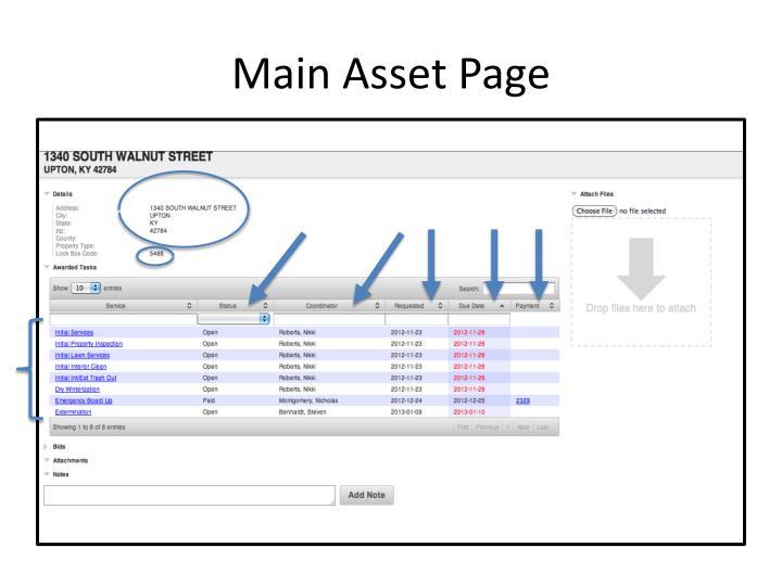 Main Asset Page