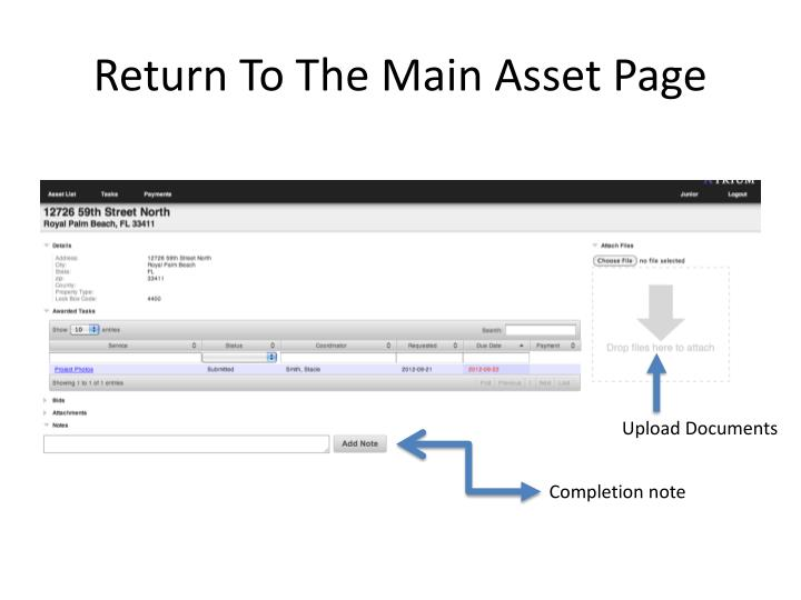 Return To The Main Asset Page