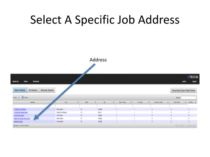 Select A Specific Job Address