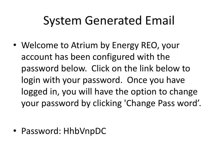 System Generated Email