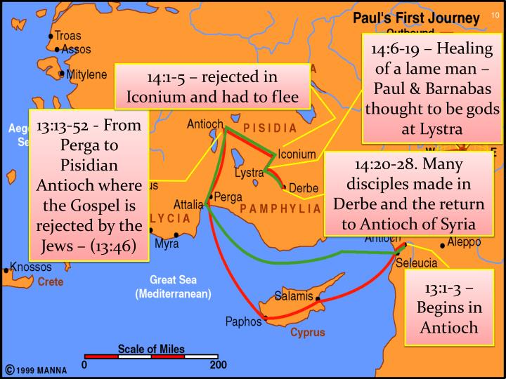 14:20-28. Many disciples made in Derbe and the return to Antioch of Syria