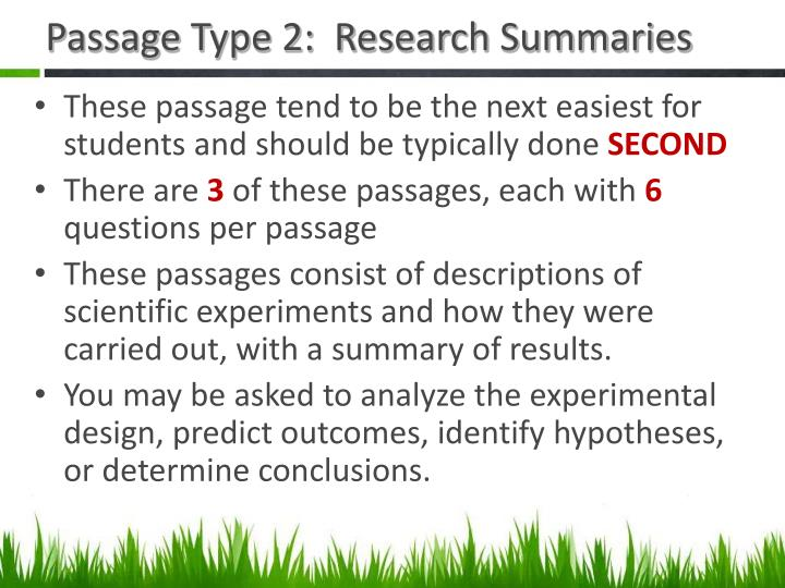 Passage Type 2:  Research Summaries