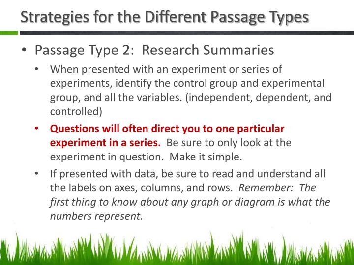 Strategies for the Different Passage Types