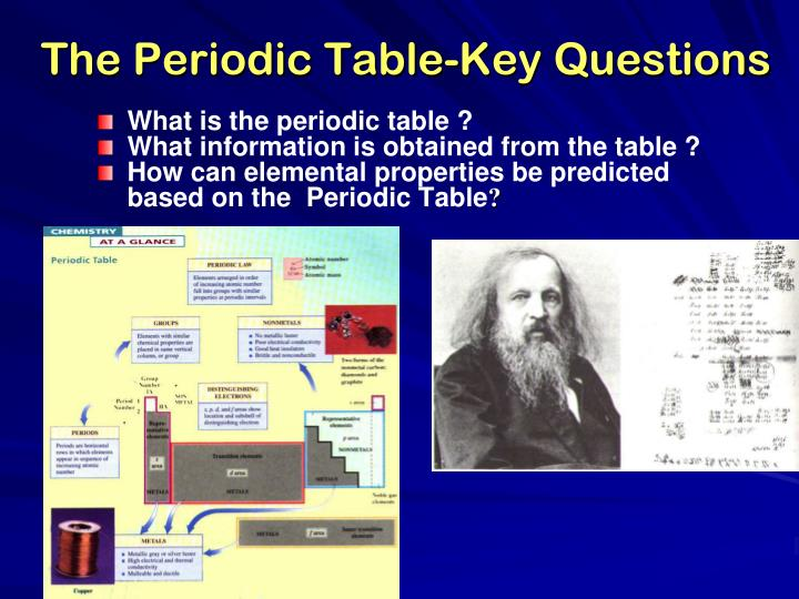 The Periodic Table-Key Questions