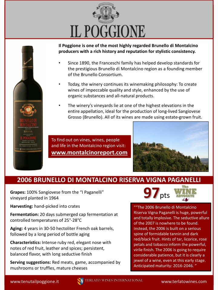 Il Poggione is one of the most highly regarded Brunello di Montalcino producers with a rich history and reputation for stylistic consistency.