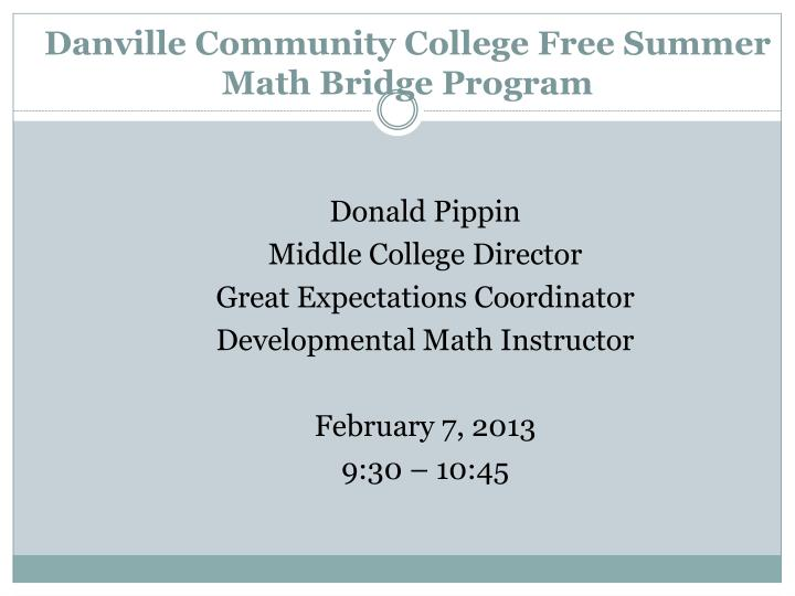 Danville Community College Free Summer