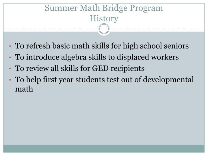 Summer Math Bridge Program