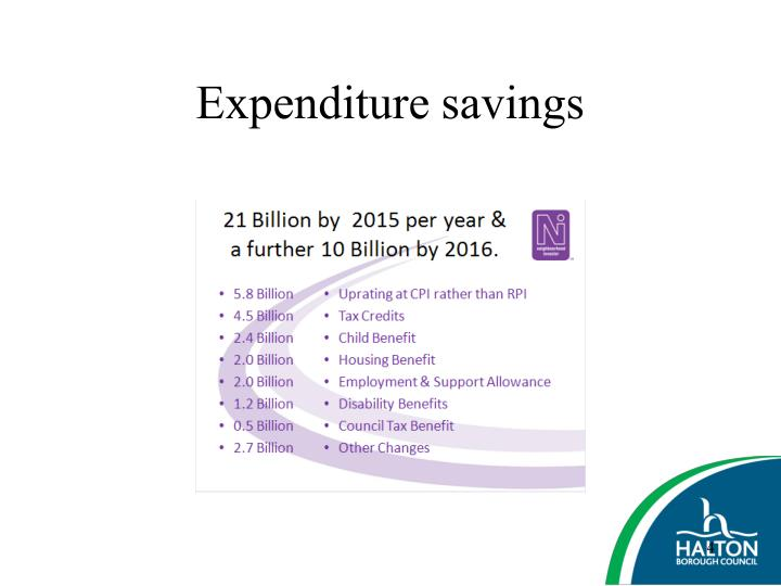 Expenditure savings