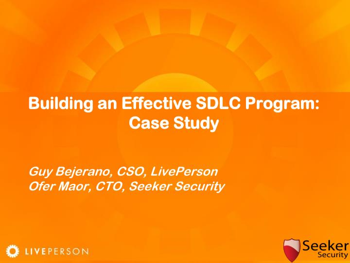 Building an Effective SDLC Program: