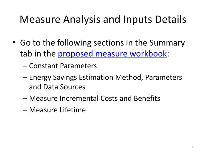 Measure Analysis and Inputs Details