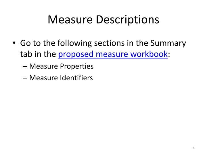Measure Descriptions