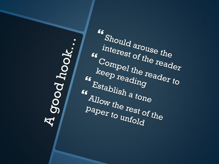Should arouse the interest of the reader