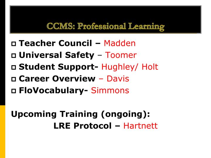 Ccms professional learning
