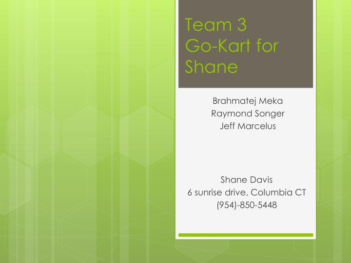 Team 3 go kart for shane