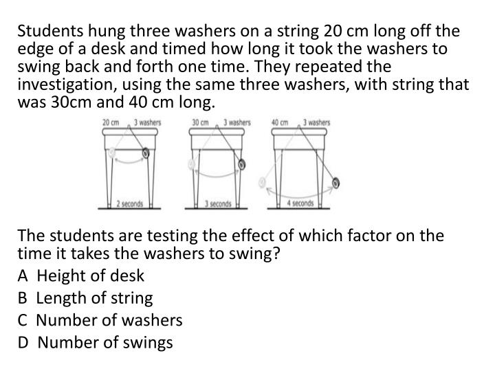 Students hung three washers on a string 20 cm long off the edge of a desk and timed how long it took...