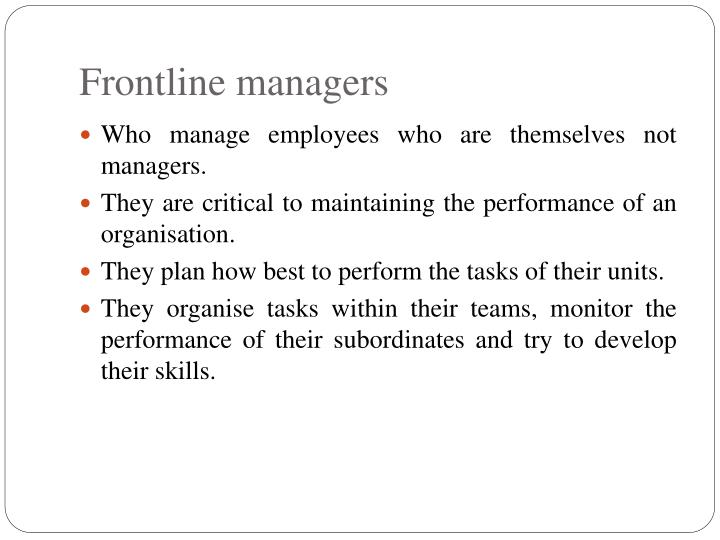 Frontline managers