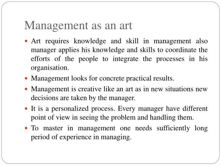 Management as an art