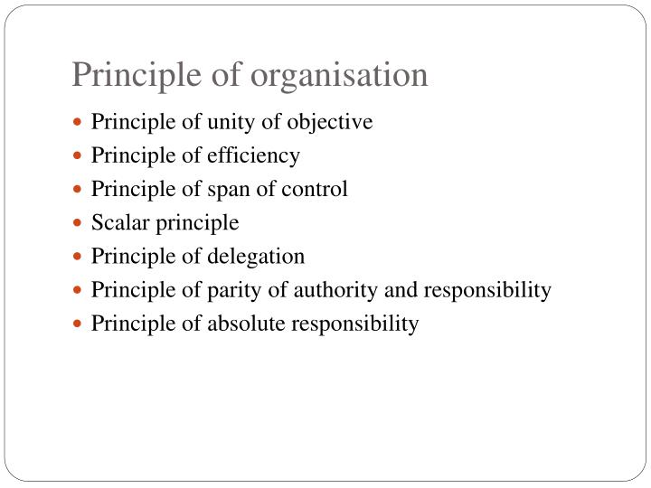Principle of organisation