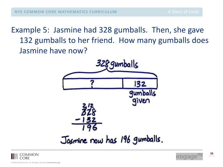 Example 5:  Jasmine had 328 gumballs.  Then, she gave 132 gumballs to her friend.