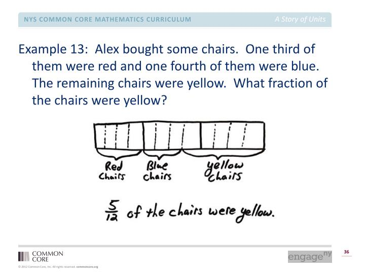Example 13:  Alex bought some chairs.  One third of them were red and one fourth of them were blue.  The remaining chairs were yellow.  What fraction of the chairs were yellow?