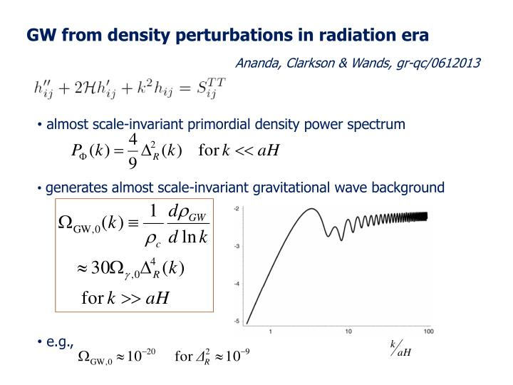 GW from density perturbations in radiation era