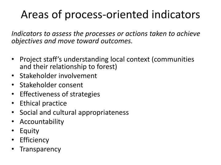 Areas of process-oriented indicators
