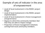 example of sets of indicator in the area of empowerment