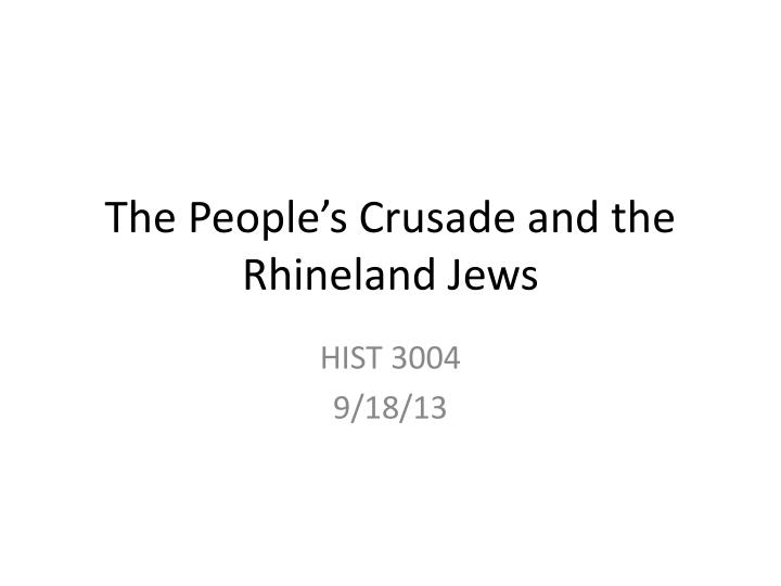 The people s crusade and the rhineland jews