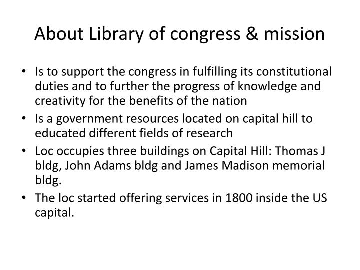About Library of congress & mission