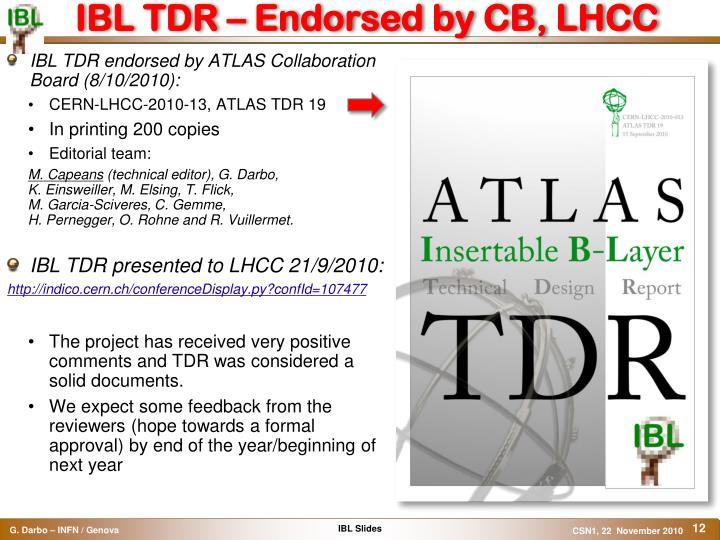 IBL TDR – Endorsed by CB, LHCC