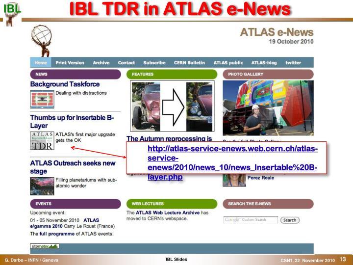 IBL TDR in ATLAS