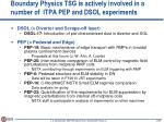 boundary physics tsg is actively involved in a number of itpa pep and dsol experiments