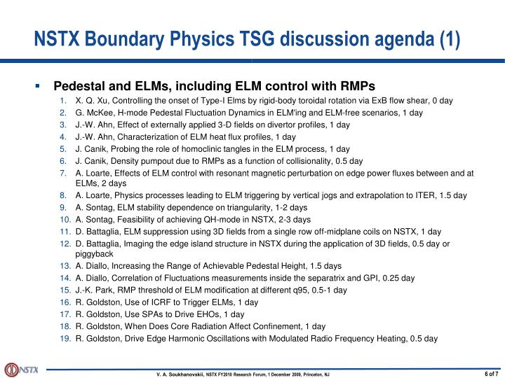 NSTX Boundary Physics TSG discussion agenda (1)