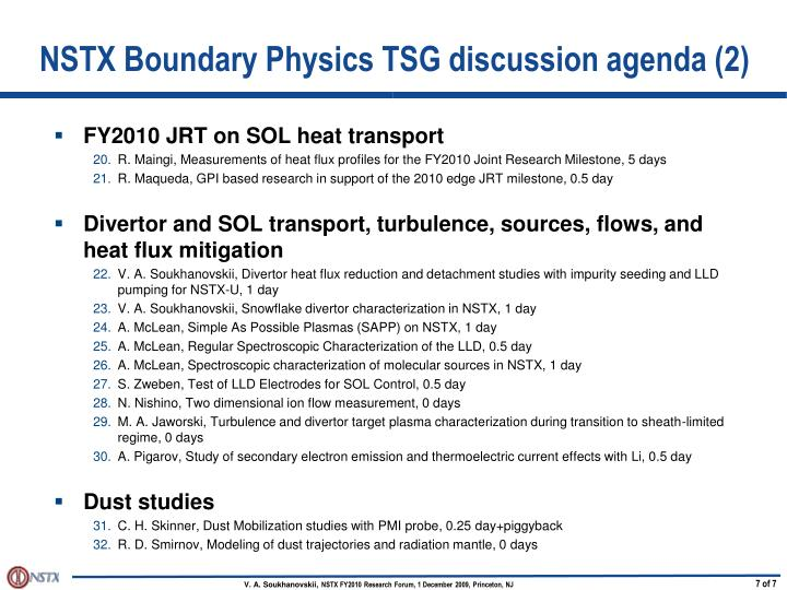 NSTX Boundary Physics TSG discussion agenda (2)