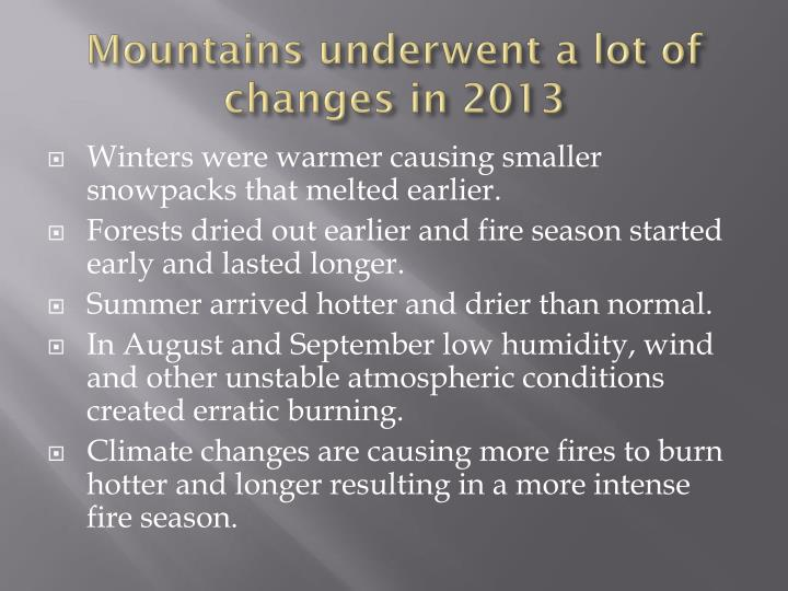 Mountains underwent a lot of changes in 2013