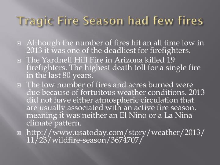 Tragic Fire Season had few fires