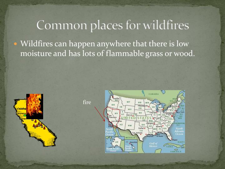 Common places for wildfires