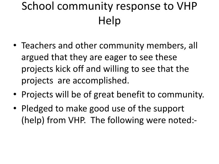 School community response to vhp help