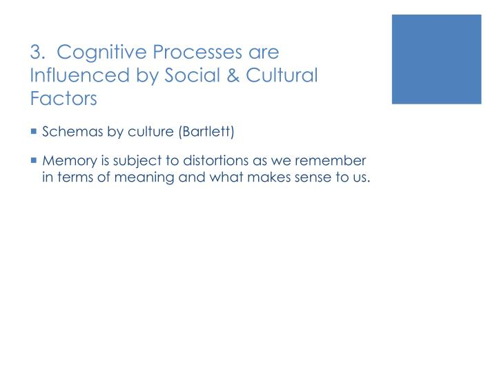 3.  Cognitive Processes are Influenced by Social & Cultural Factors