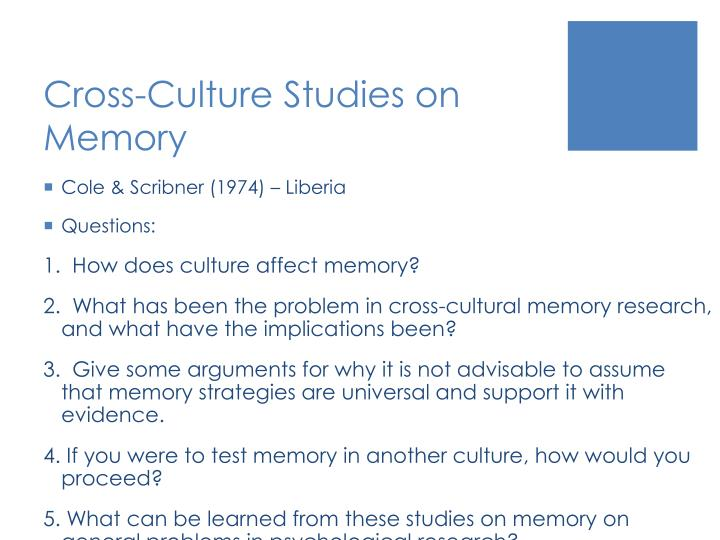 Cross-Culture Studies on Memory