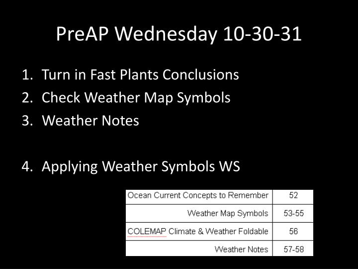 Preap wednesday 10 30 31