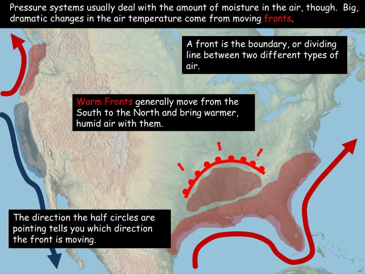 Pressure systems usually deal with the amount of moisture in the air, though.  Big, dramatic changes in the air temperature come from moving