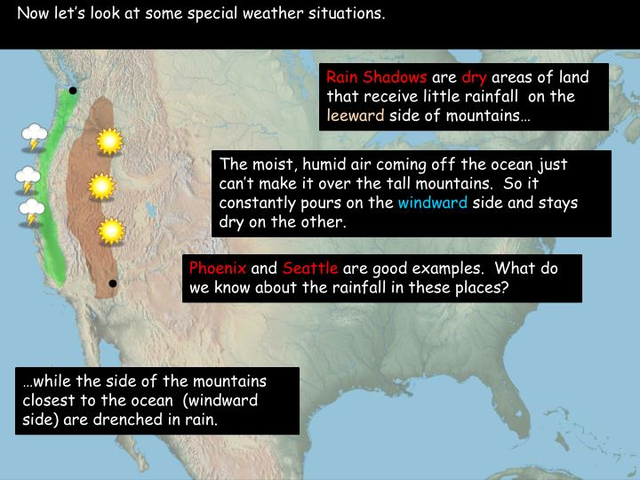 Now let's look at some special weather situations.
