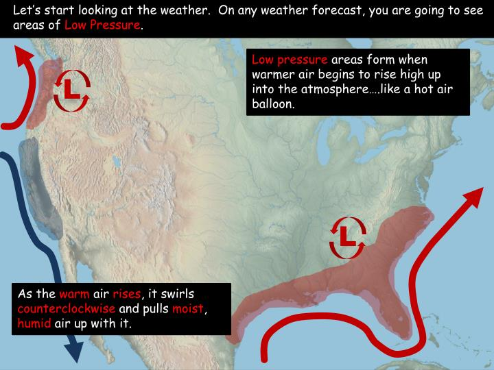Let's start looking at the weather.  On any weather forecast, you are going to see areas of