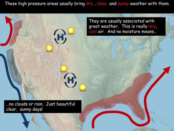 These high pressure areas usually bring