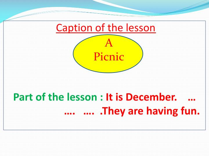 Caption of the lesson