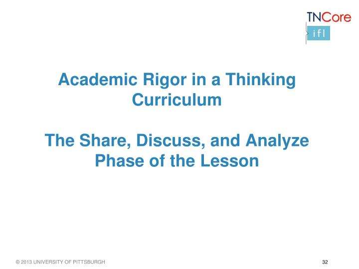 Academic Rigor in a Thinking Curriculum