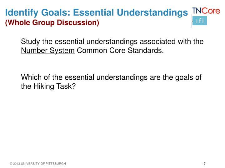 Identify Goals: Essential Understandings