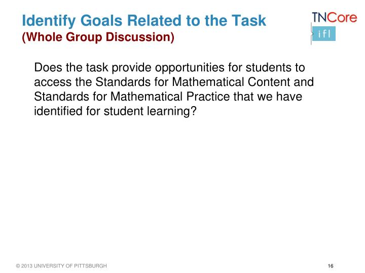 Identify Goals Related to the Task