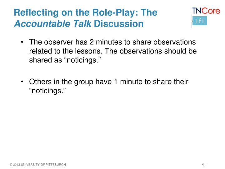 Reflecting on the Role-Play: The